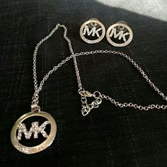 Mk diamond necklace and earrings Excellent condition Michael Kors Jewelry Necklaces
