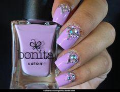 #cute #purplenails #bejeweled
