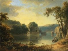 Thomas Doughty Ruins in a Landscape art painting for sale; Shop your favorite Thomas Doughty Ruins in a Landscape painting on canvas or frame at discount price. Famous Landscape Paintings, Landscape Artwork, Paintings I Love, Cool Landscapes, Beautiful Paintings, Abstract Landscape, Nice Landscape, Hudson River School, Oil Painting Reproductions