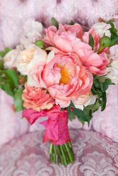 Pink Peony Wedding Bouquet. Would be beautiful paired with Tiffany blue.