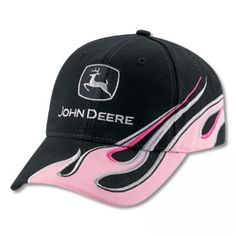 e55fdcc35bc John Deere Ladies Visor with Pink Flame Hat
