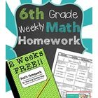 This FREE product contains 2 WEEKS of Common Core math homework sheets covering the first two weeks of 6th grade!  Each homework sheet also comes w...