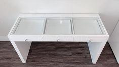 Glass top for Vanity Table - Medina Vanity Wine Glass Shelf, Glass Shelves In Bathroom, Floating Glass Shelves, Table Shelves, Furniture Making, Bedroom Furniture, Furniture Sets, Bedroom Decor, Table Dimensions