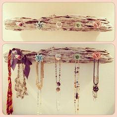 Anthropologie knobs and weathered wood to make an adorable jewelry display <3