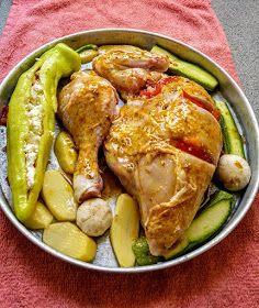 ΜΑΓΕΙΡΙΚΗ ΚΑΙ ΣΥΝΤΑΓΕΣ 2: Κοτόπουλο ψητό με λαχανικά!!! Chicken Wings, Cucumber, Meat, Food, Essen, Meals, Yemek, Zucchini, Eten