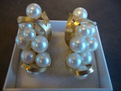 1950's Glass Pearl Cluster Earrings by theatticshop on Etsy, $14.00
