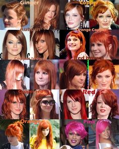 "Red hair color chart...this is why I sigh when people say ""I wanna be a redhead. What do you mean 'what color red?'""...facepalm."