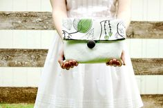 DIY: cotton & leather fold over clutch