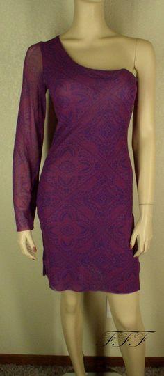 Sweet Pea NWT Sz Medium Womens Purple Multi One Shoulder Long Sleeve Dress 2054