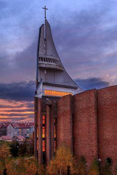 Church in Tczew by Łukasz Grabski on 500px #Tczew, #Church, #sunset