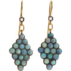 Cathy Waterman Boulder Opal Scalloped Earrings (6,495 CAD) ❤ liked on Polyvore featuring jewelry, earrings, earring jewelry, opal jewelry, cabochon jewelry, cathy waterman earrings and opal earrings