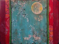 """Kathe Fraga Art, inspired by the romance of vintage French wallpapers and Chinoiserie with a modern twist. """"The Magic After Midnight"""", 36x48 on frescoed canvas. www.kathefraga.com"""