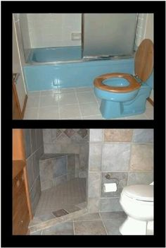 Small walk in shower, great makeover idea! by Nerium