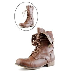 Bamboo Surprise01 Chestnut Convertible Laced Combat Boots and Womens Fashion Clothing & Shoes - Make Me Chic