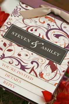 Elegant Flourish Booklet Wedding Invitation by kreativees on Etsy