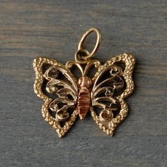 Vintage 1960s 14k Two Tone Gold Butterfly Filigree Charm Pendant by MintAndMade