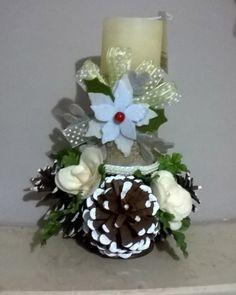 Porta candela con fiori in feltro