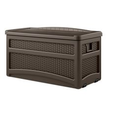 Suncast 46-in L X 23.5-in W 73-gallon Java Brown Resin Deck Box Dbw7500