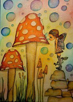 """Stanza della Creatività : """"Distress Markers"""" tutorial smashing mushrooms"""