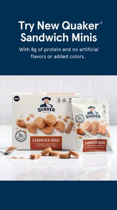 Hunger between meals is real. From long meetings to longer commutes, might not be the only time you need a snack pick-me-up. Now, you have all those snacking moments covered. Introducing Quaker's new Sandwich Minis. With of protein and of whole Oats Snacks, Healthy Snacks, Brunch Recipes, Snack Recipes, Meat Recipes, Breakfast Recipes, Vegetarian Recipes, Photo Lovers, Peanut Butter Sandwich