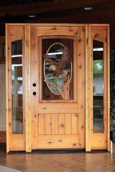 Hand carved to perfection, Great River Door Co. offers beautiful carved wood front doors for homes, lake houses & cabins. Custom Wood Doors, Wood Front Doors, Timber Door, Rustic Doors, Wooden Doors, Entry Doors, Welcome Signs Front Door, Cabin Doors, Unique Doors