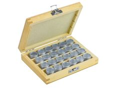 Storage Set, 24 Aluminium Containers In A Wooden Box at 15% OFF. Buy now - http://www.cooksongold.com/Beads/Storage-Set-24-Aluminium----------Containers-In-A-Wooden-Box-prcode-999-098V
