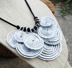 Metal Bib Necklace Aluminum. Disc. Wire by Karismabykarajewelry, $52.00