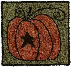 Pumpkin Panache & Button by Artful Offerings by Artful Offerings ~ Karina Hittle Rug Hooking Designs, Rug Hooking Patterns, Rug Patterns, Punch Needle Patterns, Cross Stitch Patterns, Zulu, Wool Applique, Pumpkin Applique, Hand Hooked Rugs