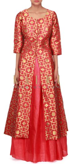 Coral red long top with raw silk lehenga only on Kalki