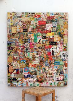 Sin título. Collage sobre madera. 105X85cm