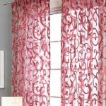 sheer curtains, red accents for teal dining room