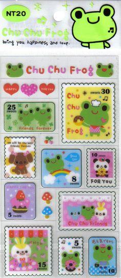 Kawaii Chu Chu Frog Stamp Sticker Sheet SALE