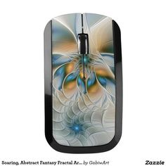 Soaring, Abstract Fantasy Fractal Art With Blue Wireless Mouse