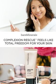 Treat yourself to just the right amount of coverage for a dewy, natural-looking, radiant glow. The best of a BB, a CC, and a tinted moisturizer, Complexion Rescue™ by bareMinerals makes your skin like look skin, only better. No Parabens. No Fragrance. Non-Comedogenic. Hypoallergenic. Complexion Rescue Tinted Hydrating Gel Cream is available in 16 shades on bareMinerals.com.