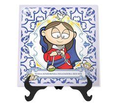 Azulejo decorado de Nossa Senhora Desatadora dos Nós. Lindo para decoração e presentear amigos e crianças.