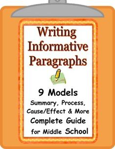 9 types of paragraphs for all subjects. Perfect learning tools for students to… Middle School Writing, Middle School English, Middle School Teachers, Paragraph Writing, Expository Writing, Essay Writing, Formal Assessment, Teaching Critical Thinking, Bell Work