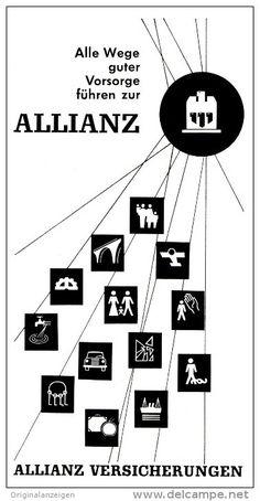 Original-Werbung/ Anzeige 1960 er Jahre - ALLIANZ VERSICHERUNGEN - ca. 90 x 180 mm