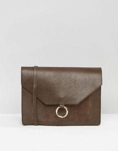 ASOS   ASOS Vintage Leather Cross Body Bag With Metal Ring Detail at ASOS