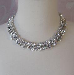 Rhinestone Necklace Bridal Choker Wedding by TheRedMagnolia, $80.00