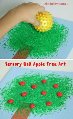 Make art into an awesome sensory experience by using sensory balls as paintbrushes! This is a wonderful craft project for students with physical disabilities as well. art design landspacing to plant Fall Art Projects, Toddler Art Projects, Projects For Kids, Craft Projects, Fun Crafts For Kids, Diy For Kids, Crafts To Make, Arts And Crafts, Jungle Crafts