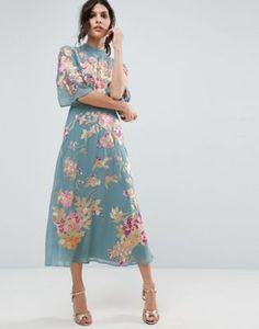 ASOS PREMIUM Midi Dress with Floral Embroidery
