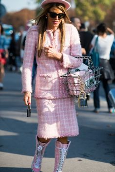 Anna Dello Russo in Pink Chanel Skirt Suit. Street style