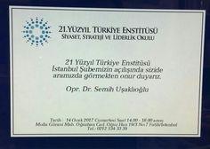 21.Yüzyıl Türkiye Enstitüsü İstanbul Şubesinin açılışına davet.. | Haberhan Siyasi Güncel Haber Sitesi