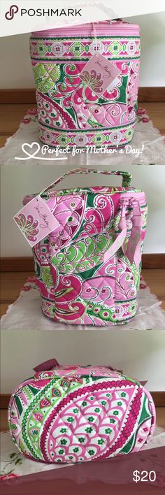 "NWT Vera Bradley Cool Keeper Bag Perfect to give as a gift, this insulated ""cool keeper"" bag can hold snacks, a small lunch, baby bottles, drinks and other items you are trying to keep cold. Retired Vera Bradley pattern Pinwheel Pink is a very popular color with its bright pinks and greens. Mesh pockets along sides can hold small ice packs to prolong the cool temperature inside. Lined for easy cleaning. Bag is 8"" Tall x 7"" Wide x 4"" Deep. Smoke free home. Offers welcome. Bundle for…"