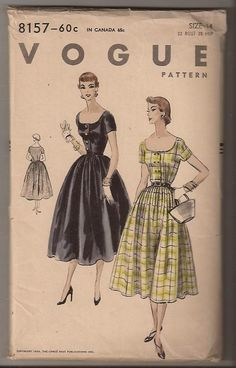 Vogue 8157 A 1954 1950s Dress Patterns, Dress Sewing Patterns, Vintage Sewing Patterns, Vintage Coat, Vintage Style, Vintage Ads, How To Make Clothes, Making Clothes, Diy Clothes