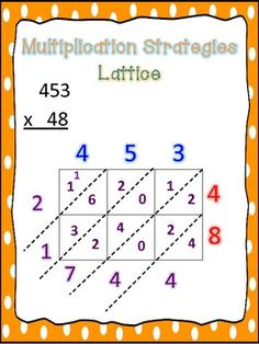 Multi Digit Multiplication Strategy Posters - Teaching With a Mountain View - TeachersPayTeache. Lattice Multiplication, Multi Digit Multiplication, Multiplication Strategies, Math Fractions, Multiplication Worksheets, Math For Kids, Fun Math, Math Activities, Math Charts
