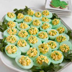 St. Patricks Day pot of gold Deviled Eggs #stpatricksdayrecipes