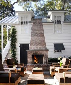A Fireplace In The Garden   Wow Farmhouse Exterior Fireplace Seating,  Fireplace Furniture, Outside