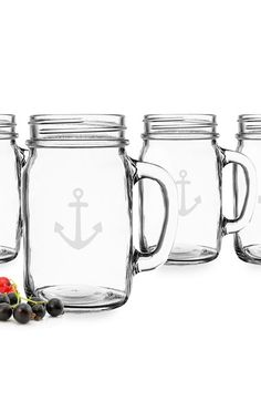CATHY'S CONCEPTS 'Anchor' Glass Drinking Jars (Set of 4) at Nordstrom.com. Bring a hint of nautical charm to your home décor with a delightful set of rustic, handblown drinking glasses that feature classic beveled tops and etched anchors.