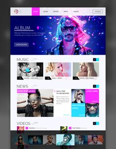 Outstanding web design of music website Mobile Web Design, Web Ui Design, Design Blog, Branding Design, Design Ideas, Design Design, Website Design Inspiration, Graphic Design Inspiration, Web Layout